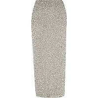 Grey sequin maxi skirt