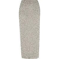 Grey sequin maxi skirt