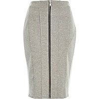 Grey panelled zip front pencil skirt