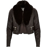 Black cropped leather-look fur trim jacket