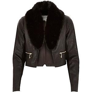 Black cropped leather-look fur trim jacket