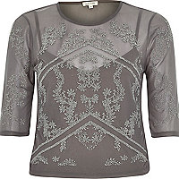 Grey caviar mesh fitted top