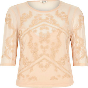 Light pink caviar mesh top