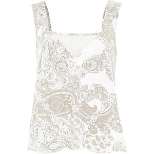 Cream paisley print lace insert top
