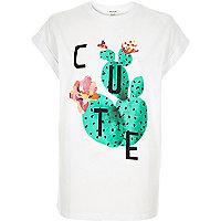White cactus print oversized t-shirt