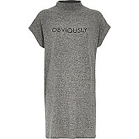 Grey marl obviously slogan oversized t-shirt