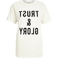 Cream slogan print oversized t-shirt