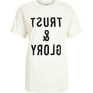 Cream slogan print oversized t-shirt