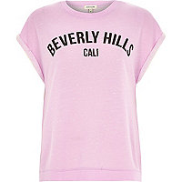 Purple Beverly Hills print sweater t-shirt