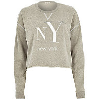 Grey marl NY print cropped sweatshirt