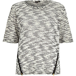 Grey space dye zip side t-shirt