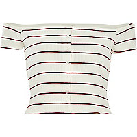 Cream stripe ribbed bardot top