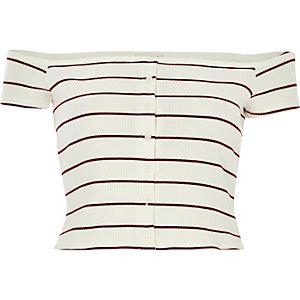 Cream stripe ribbed bardot top