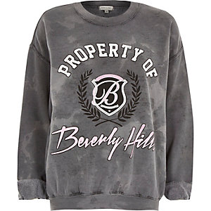 Grey Beverly Hills print sweatshirt