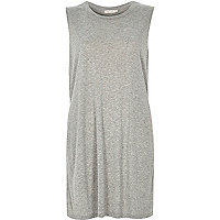 Grey sleeveless split side tank top