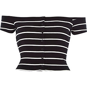 Black stripe ribbed bardot top
