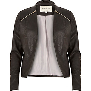 Black leather-look zip fitted jacket
