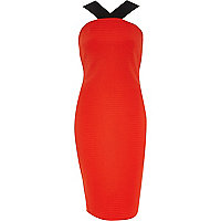 Red wide strap bodycon dress