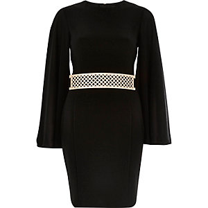 Black kimono wide sleeve dress