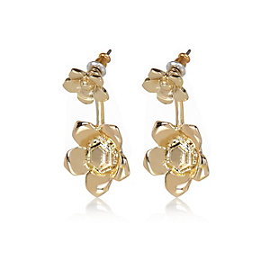 Gold tone flower front and back earrings