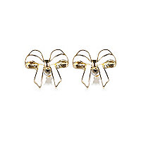 White pretty bow stud earrings