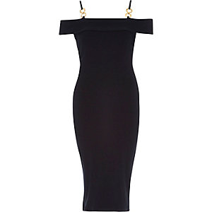 Navy gold strap detail bardot bodycon dress