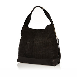 Black leather slouchy handbag