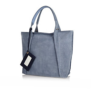 Blue suede croc shopper handbag