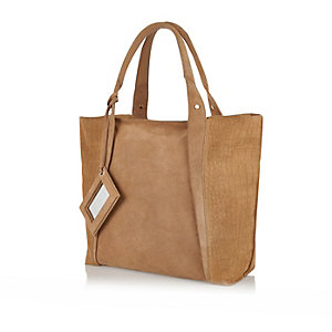 Beige suede shopper handbag