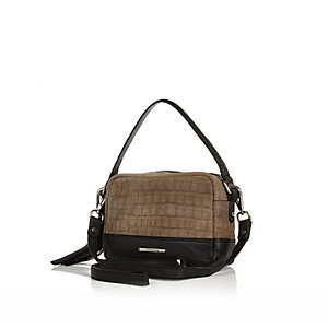 Khaki snake print suede cross body handbag
