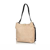 Beige leather slouchy bucket bag