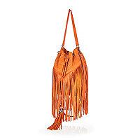 Orange leather fringed bucket bag