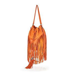 Orange leather fringed bucket handbag