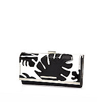 Black leaf appliqué print clip top purse