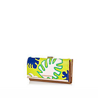 Green palm tree leaf print clip top purse