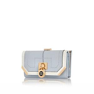 Blue padlock clip top purse