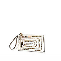 White lasercut purse clutch