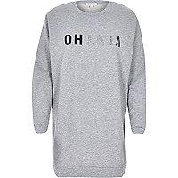 Grey oh la la slogan longline sweatshirt