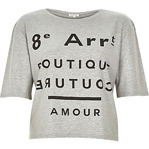Grey metallic black print boxy t-shirt
