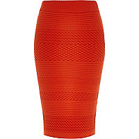 Red textured patterned pencil skirt