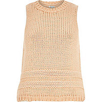 Light orange sleeveless chunky knitted vest