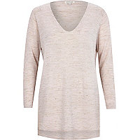 Light pink linen-blend side split top