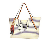 Cream stripe tassel beach bag