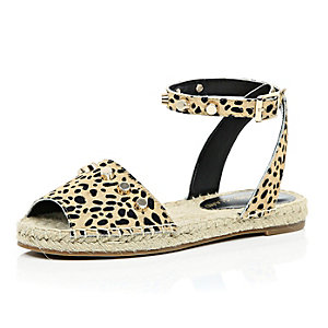 Leopard leather ponyskin espadrille sandals