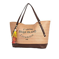 Dark beige stripe tassel beach bag
