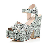 Light green snake print platform sandals