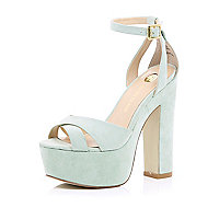 Light green suede block heel sandals