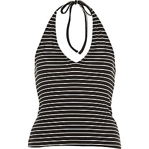 Black stripe halter neck crop top