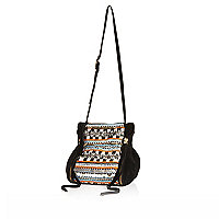 Black suede embroidered cross body bag