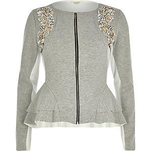 Grey scuba embellished peplum jacket